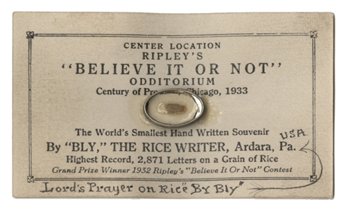 An Image of a Ripley's Believe it or not card