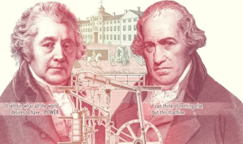 An image of the £50 note featuring Boulton and Watt.