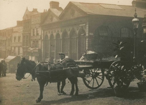 An image of a donkey and cart outside the Bull Ring in Birmingham.