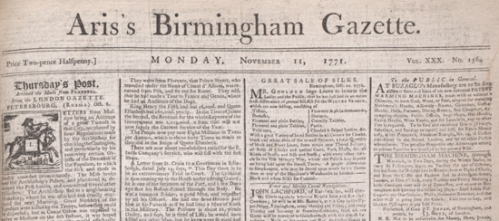 Image of The Aris Gazette from 1771.