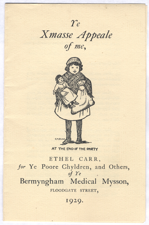 An image of the Christmas appeal leaflet for the Birmingham Medical Mission