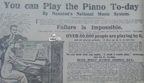 Image of an advert for Piano lessons
