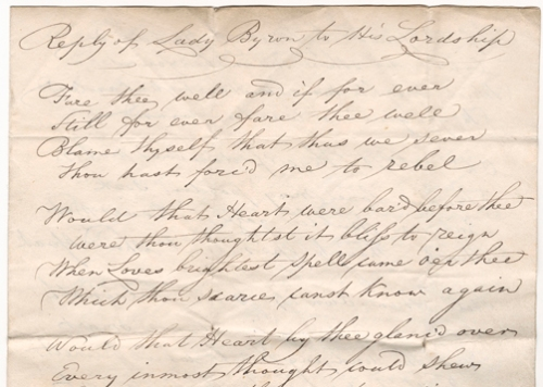 An image of the letter claiming to contain a response from Lady Byron to her husbands poem 'Fare Thee Well'