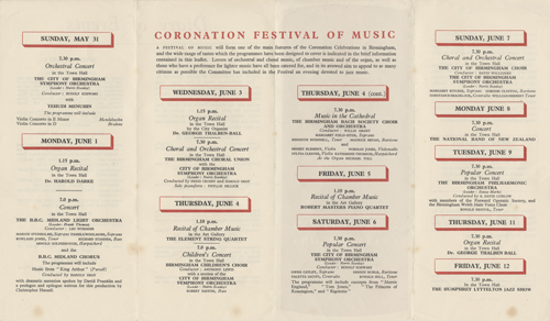 Diary of Musical Events for the Coronation Celebrations