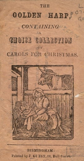 Contains a black and white woodcut illustration of a Nativity scence showing Mary and Jesus with a cow in the background