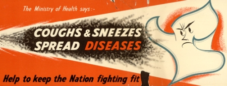 "Wartime bus poster with a picture of a  text on poster ""The Ministry of Heath says coughs and sneezes spread diseases, help keep the nation fighting fit!!"