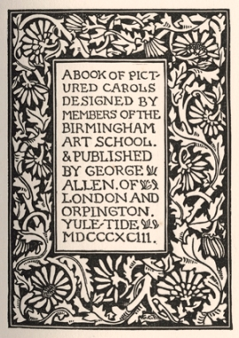 Black and white woodcut illustration with title of book surrounded by a woodcut of a stylised floral border