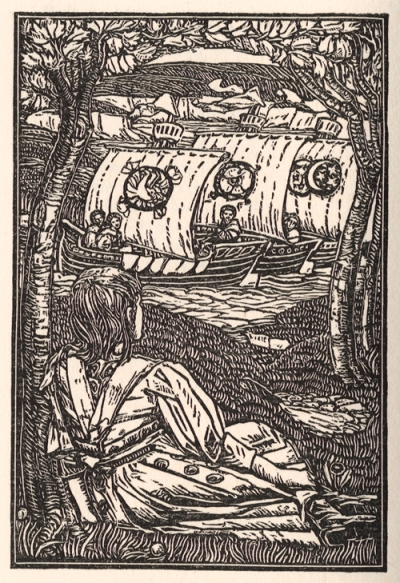 I saw three ships woodcut