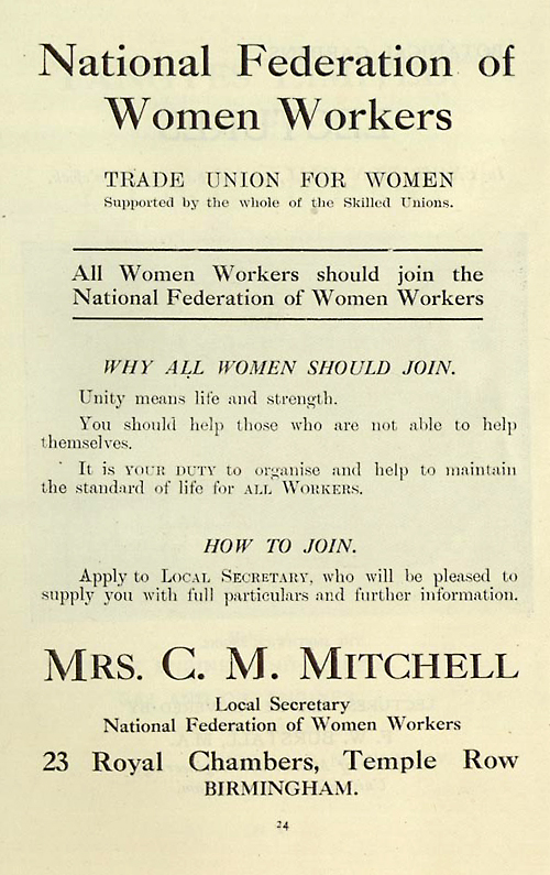 Advert for National Federation of Women Workers