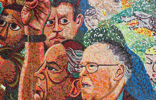 Kennedy Memorial detail, showing Mike Nangle (with glasses). Courtesy of Tom Ranahan.