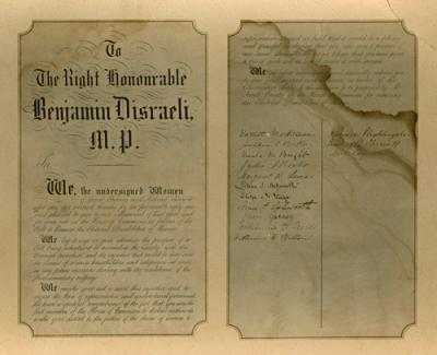 Petition to Benjamin Disraeli M.P