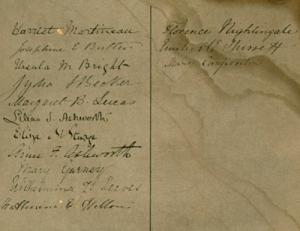 Close up of signatures in petition to Benjamin Disraeli M.P