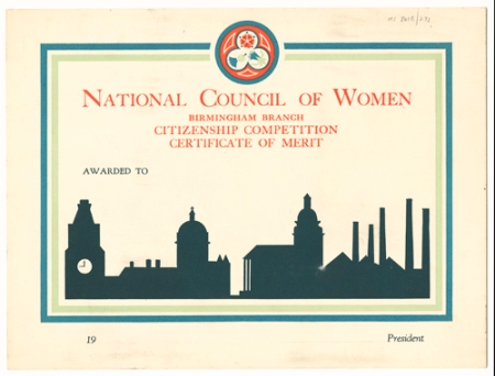 National Council of Women Birmingham Branch Certificate of Merit, nd. [early 20th cent.] Ref: MS 841B/273