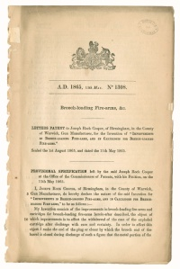 Letters patent for Breech-lodaing Fire-arms, &c.