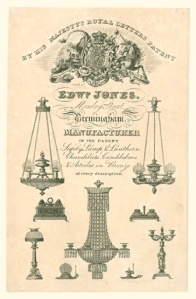 Trade card from Edward Jones, chandelier manufacturer