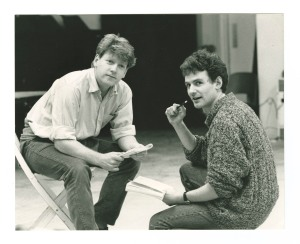photograph (left to right) of Kenneth Branagh and James Larkin rehearsing 'Much Ado About Nothing' by William Shakespeare directed by Judy Dench, 1988. MS 2339.