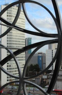 Ironwork surrounding the Library of Birmingham, representing local industry