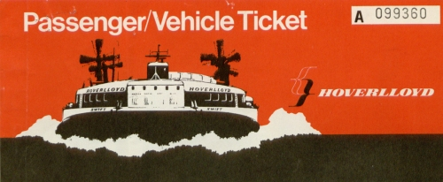 illustrate ticket with Hovercraft on front for crossing from Ramsgate to Calais. 20th century.