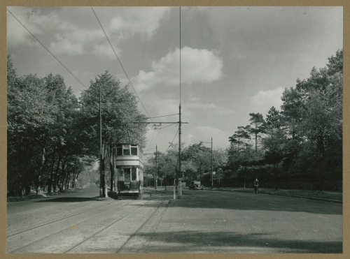 Tram moving up the Bristol Road, Edgbaston, Birmingham. [WK/E1/274]