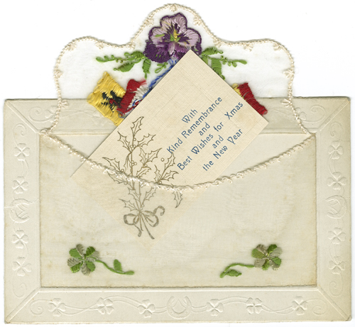 An embroidered postcard from World War One. [MS 1563/11/11]