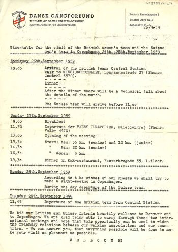 Itinerary for a visit to Denmark in 1959 [MS 2739/1/1/4]