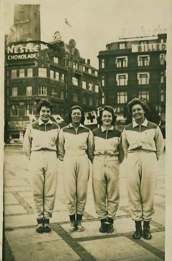 Nellie Batson Loines (far right) and team-mates in Copenhagen, 1959. [MS 2739/3/1/4/6]