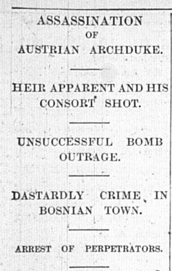 Report of the assassination in the Birmingham Post, 29th June, 914