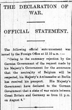 Declaration of War Official Statement by the Foreign Office