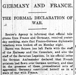 Formal Declaration of War, Germany and France Birmingham Post, Wednesday 5th August, 1914