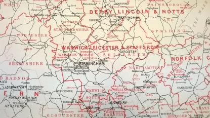 Map showing Quaker Meetings within Warwickshire, Leicestershire and Staffordshire Quarterly Meeting, 1894. From MS 4039 (2008/087) The Lloyd Papers, roll 2, supplement to The Friend, 1894.