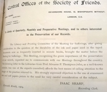 Letter from the Clerk of the Central Offices of the Society of Friends in London to the Clerks of Quarterly, Monthly and Preparative Meetings in Warwickshire North Monthly Meeting reports relating to minutes, 1904-1907, (2011/029).
