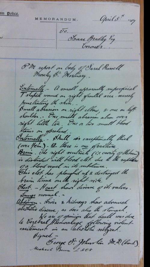 [part of the post mortem report on the body of the deceased]