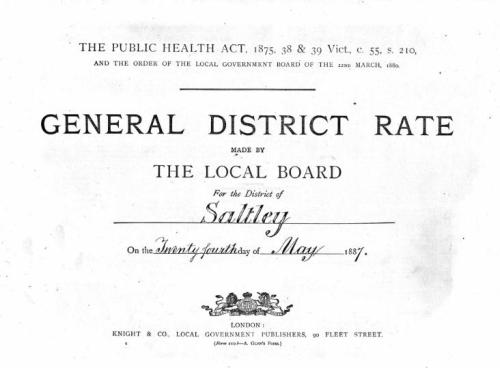 Title Page from 1887 Rate Book for Saltley