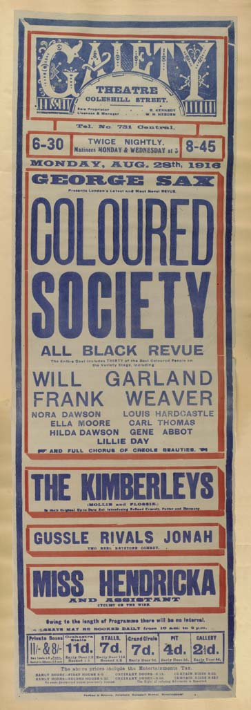 Gaiety Theatre playbill for Monday 28th August 1916