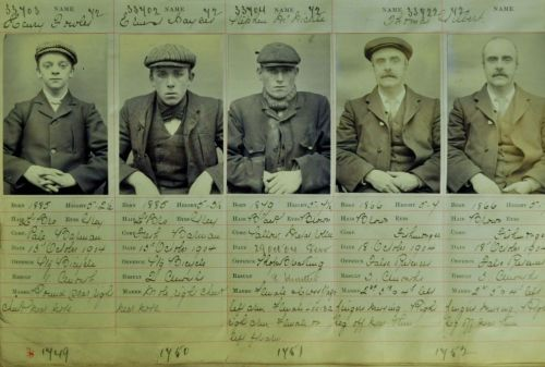 Charge sheet of Victorian gang members (Left to right, Peaky Blinders Harry Fowler, Ernest Bayles, Stephen McHickie and Thomas Gilbert ) Copyright Birmingham Police Museum