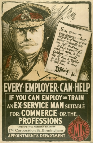 World War 1 poster asking employers to employ or train an ex-service man suitable for commerce of the professions
