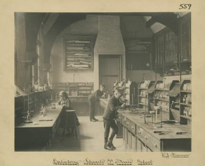 Science Laboratory Icknield Street Board School, c. 1882, W. J. Harrison. [MS 2724/2/B/559]