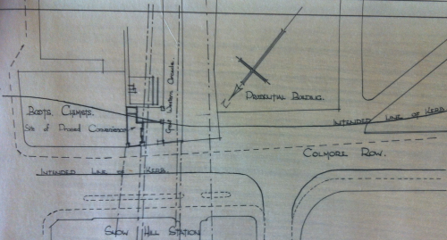 Location of the conveniences on Colmore Row, which was on the site of blitz damage to the Great Western Arcade.