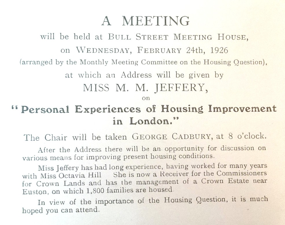 Appalling conditions in birminghams slums quaker action on invitation to a talk on housing improvement at bull st meeting house february 1926 warwickshire monthly meeting housing committee minutes stopboris Images