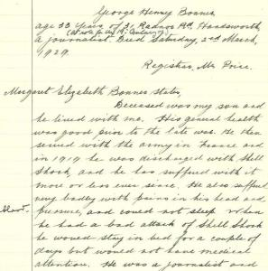 Extract from Inquest on George Henry Bonner, April 1929