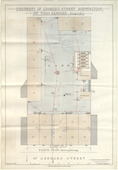 Block plan showing drainage by Thomas A. Turner, Architect, Hockley Heath, Birmingham. dated January 1915. Scale: 8 feet to 1 inch. Houses numbered 25 - 29 fronting St Georges Street and houses numbered 1 - 9, 2 washhouses and an ash pit in yard at the back. Part of BCC Town Clerk Deeds bundle BCC 10/BPS/3/1/67 (Numbers 533 - 542).  bcc-10-bps-3-1-67 no 542.