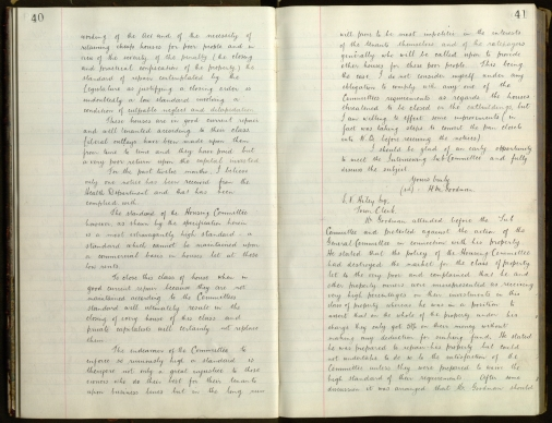 Pages 40 & 41 from volume ot Housing - Interviewing Sub-committee Minutes, 4 March 1908. [BCC/1/BF/3/1/1]