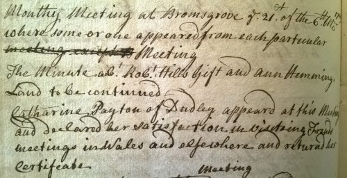 Extract from Chadwick Monthly Meeting minutes 1749, recording the return of Catherine Payton Phillips' certificate to travel