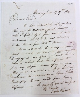 Letter to Matthew Boulton from Taylor and Lloyds. 17th September 1803.  [MS 3782/12/48/296]