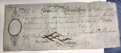 A cheque from the Taylor and Lloyds Bank, 1792.  [MS 3357/1]