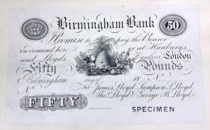 Bank note issued by Lloyds. Note the beehive emblem.  [MS 3357/1]