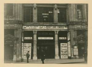 Closing of West End Cinema, New Street, Birmingham. Note the Picture House Sign over the doorway. [WK/B11/141]