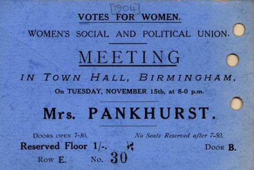 Women's Social and Political Union Ticket [299155 Birmingham Scrapbook Vol. 9 P353]