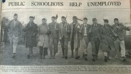 MS 396-2 Newscuttings Bham Gazette 17-4-1935- Public school boys help unemployed