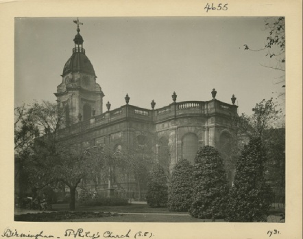 Image of Birmingham Cathedral celebrating its 300th birthday in 2015. [WK/B11/792] 1731 Photographed by William A. Clark. Exterior view, south east.